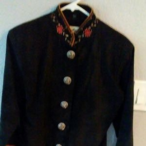Scully black suede jacket with embroidery. Size 10